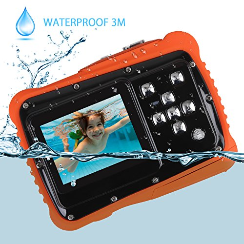 Digital Waterproof Camera for Kids Underwater Action Camcorder with 12MP 2.0 Inch LCD Display,8x Digital Zoom, Flash and Mic(Black)
