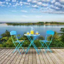 Alpine Corporation 3-Piece Floral Bistro Set – Outdoor Conversation Set for Patio, Yard, Garden – Blue