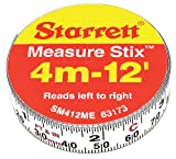 Starrett Measure Stix SM412ME Steel White Measure Tape with Adhesive Backing, English/Metric Graduation Style, Left To Right Reading, 12' (3.65m) Length, 0.5' (13mm) Width, 0.0625' Graduation Interval