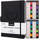 Artfan Planner 2019 with Pen Holder -Academic Weekly, Monthly and Yearly Planner, Saffiano Leather with Thick Paper, 5.75' x 8.25', Back Pocket with 88 Notes Pages