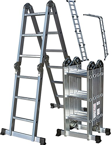 OxGord Aluminum Folding Scaffold Work Ladder 12.5 ft Multi-Fold Step Light Weight Multi-Purpose extension - MAX WEIGHT 300 LBS