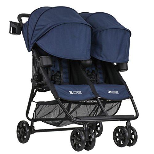 ZOE XL2 BEST v2 Lightweight Double Travel & Everyday Umbrella Twin Stroller System (London Navy)