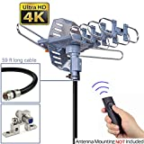 pingbingding HDTV Antenna Outdoor Antenna Digital Antenna 150 Mile Motorized 360 Degree Rotation - Wireless Remote Control - 59FT RG6 Coax Cable & Coaxial Grounding Block - UHF/VHF/1080P Support 2 TVs