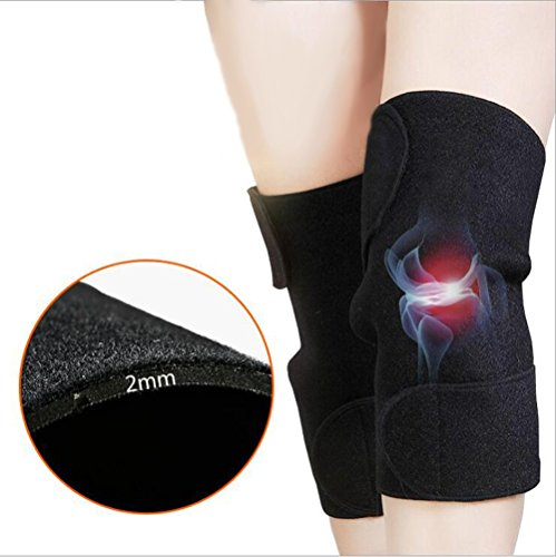 Vinmax 1Pair Self-Adhesive Knee Brace Self-Heating Tourmaline Magnetic Therapy Knee Wrap with 8 Embedded Magnets Adjustable Self-Warming Knee Brace for Arthritis Joint Pain Relief and Rehab