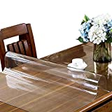 ETECHMART 1.5mm Thick 42 x 72 Inches Clear PVC Table Cover Protector for 6ft Table Non-Slip Waterproof Rectangular Vinyl Desk Pad for Coffee Table, Writing Desk, End Table