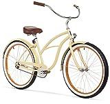 sixthreezero Women's Single Speed Beach Cruiser Bicycle, Scholar Cream w/Brown Seat/Grips, 26' Wheels/17 Frame