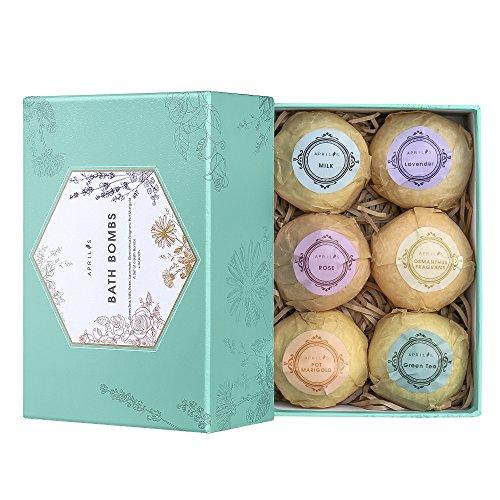Aprilis Bath Bombs Gift Set, Organic and Natural Bath Bomb Kit, Lush Fizzy Spa to Moisturize Dry Skin, Best Gift Ideas for Women, Girlfriend and Kids, 6 x 4.0 oz