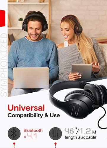 Symphonized Blast Wireless Bluetooth Headphones with Mic, Over Ear Headphones for iPhone, Samsung and More, 22 Playtime Hours for Travel/Work, Deep Bass Headphones with Noise Isolation (Black) 15