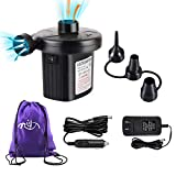 Rongyuxuan Electric Air Pump 2 in 1 Portable Air Mattress Pump, Universal Quick-Fill Inflator Deflator with 3 Nozzles for Outdoor Camping, Air Mattress Beds, Boats, Including A Carrying Bag