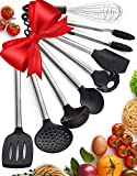 Kitchen Utensil Set - 8 Piece Non-Stick Cooking Utensils & Spatulas - Silicone & Stainless Steel - Safe for Pots & Pans - Serving Tongs, Spoon, Spatula Tools, Pasta Server, Ladle, Strainer, Whisk