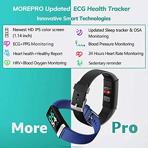 MorePro Heart Rate Monitor Blood Pressure Fitness Activity Tracker with Low O2 Reminder, IP68 Waterproof Smart Watch with HRV Sleep Health Monitor Smartwatch for Android iOS Phones 2