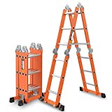 CIGONG Multi-Function Folding Ladder 6-in-1 Extended Ladder Aluminum Alloy Platform Retractable Scaffold Trapezoidal Telescopic Ladder, Bearing 330lbs Step Stool (Color : 2.35+2.35=4.7M(15.4ft))