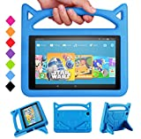 All-New Fire HD 10 2017 Tablet Case -Riaour Shock Proof Light Weight Convertible Handle Stand Kids Friendly Cover for Fire HD 10.1' Tablet(Compatible with 2015&2017 Released)(New Blue)
