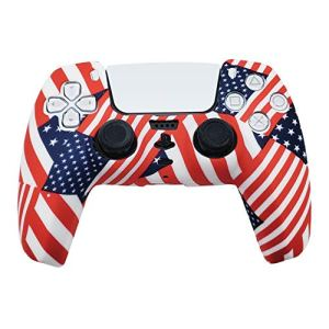 PS5 Silicone Gel Grip Controller Cover Skin Protector (USA Flag) Compatible for Sony PlayStation 5 DualSense Wireless Controller Protector Covers