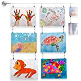 Fasthomegoods Wall Mount Children's Art Projects Display Curtain Wire Rod Set with 48 Hanging Clips Stainless Steel