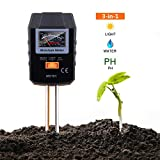 Soil Test Kit, 3-in-1 Soil Moisture Meter for Moisture, Light and PH, Ideal for Garden, Plant, Farm, Lawn, Indoor & Outdoor (No Battery Needed) - MST01