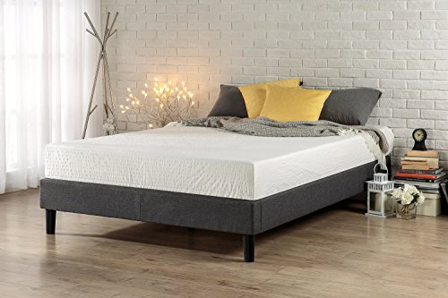 Zinus Essential Upholstered Platform Bed Frame / Mattress Foundation / Easy Assembly / Strong Wood Slat Support, Queen