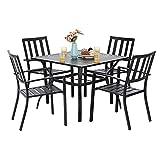 PHI VILLA 5 Piece Metal Patio Dining Set 37' Square Patio Bistro Table and Garden Backyard Chairs - Umbrella Hole 1.57'