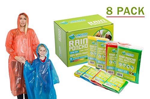 Lingito Rain Poncho Family Pack: Extra Thick -Disposable Emergency Rain Ponchos for Men, Women and Teens, Children (8pack)