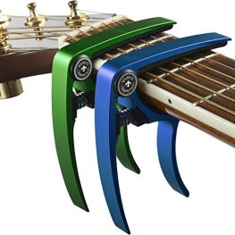Nordic Essentials Aluminum Metal Universal Guitar Capo, 1.2 oz (2 Pack) - Green and Blue for 6 and 12 String Instruments