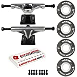 Skateboard Package 5.25 (8.25') Silver Trucks 55mm 83A Black Cruiser Wheels ABEC 5