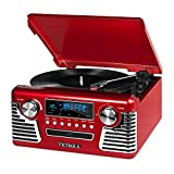 Victrola 50's Retro 3-Speed Bluetooth Turntable with Stereo, CD Player and Speakers, Red