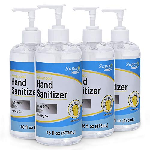 Superfy Hand Sanitizer, Moisturizing Gel Hand Wash with Pump,No-residue,Fast-drying 16 fl.oz (Pack of 4)