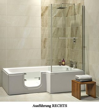 Badewanne mit Tür, Seniorenbadewanne 170x85/70x53cm mit Duschkabine,Wannenschürze und Ablauf/Sifon, Ausführung RECHTS von Hak
