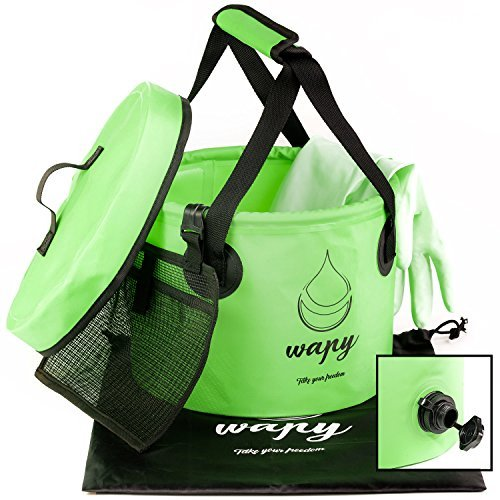 Wapy Collapsible Water Bucket - Durable Portable Folding Container - With Lid, Valve, Carry Bag, Cleaning Gloves and Handy Tool Mesh Pocket - Perfect for Camping, Hiking, Travel, Fishing and Gardening