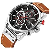 Men Sport Chronograph Quartz Watch Brown Leather Strap Date 30M Waterproof Military Male Wrist Watch (Silver & Black)