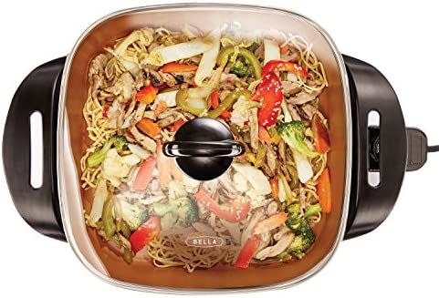 BELLA Electric Ceramic Titanium Skillet, Roast, Fry and Steam, Healthy-Eco Non-stick Coating, Convenient Easy Clean Up, Glass Lid Included, 12″ x 12″, Copper/Black