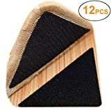 Yorwe Rug Anchors, Double Sided Adhesive Hook and Loop Buckle Nylon Button Staircase Floor Carpet Non-Slip Mat Anti-Skid Stickers Triangle (12PCS, Black)