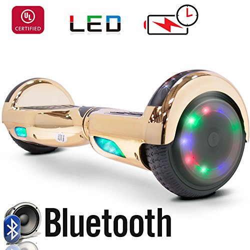 New 6.5' Hoverboard -Self Balancing Scooter 2 Wheel Electric Scooter - UL Certified 2272 Bluetooth W/Speaker, LED Wheels And LED Lights (Chrome Gold)