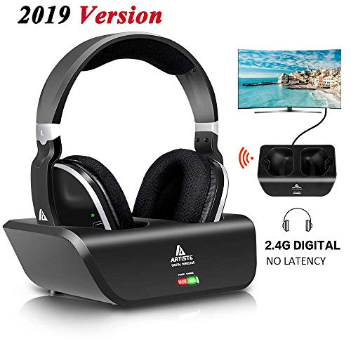 Wireless TV Headphones Over Ear, Monodeal Digital Stereo Headsets with Charging Dock, 2.4GHz RF Transmitter, NO Latency 20H Playtime, for TV PC Mobile MP3 - Black