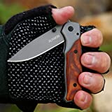 ALHAKIN Pocket Folding Knife with Wood Handle, Titanium Gray Steel Blade and Liner Lock, Perfect for Outdoor and Daily Use