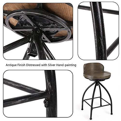Fivegiven Rustic Industrial Counter Stool 24 Inch Bar