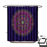 Yoga Shower Curtains 3D Digital Printing Ethnic Ornament Mandala Round on Purple Background Bohemian Hippie Mystical Motif Custom Made Shower Curtain W48 x L72 Multicolor