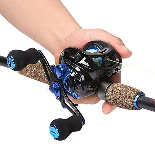 Sougayilang Sapphire Fishing Rod with Reel Combos Baitcasting Telescopic Travel Non-Slip Rubber Handle Fishing Kits, Medium Power (7FT Rod+Right Hand Reel)