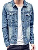 Product review for LD Mens Slim Fit Distressed Button Up Motorcycle Denim Jacket