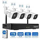 [Newest] Wireless Security Camera System, Firstrend 8CH 1080P Wireless NVR System with 4pcs 1.3MP IP Security Camera and 1TB Hard Drive Pre-installed, P2P CCTV Camera System for Outdoor and Indoor Use