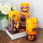 DRomance-Flameless-Flickering-Candles-Battery-Operated-with-6-Hour-Timer-Set-of-3-Real-Wax-LED-Pillar-Candles-Warm-Light-with-Castle-Witch-Bats-Decal-Halloween-Decor-Candles-for-KidsD3-x-H6