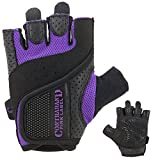 Contraband Pink Label 5137 Womens Padded Weight Lifting Gloves w/Grip-Lock Padding (Pair) - Machine Washable Fingerless Workout Gloves Designed Specifically for Women (Purple, Medium)