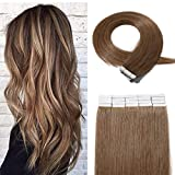 20 Pieces Rooted Tape in Hair Extensions Human Hair Seamless Skin Weft 100% Real Remy Invisible Tape Hair Extensions Straight Double Sided 16 inches #06 Light Brown 30g