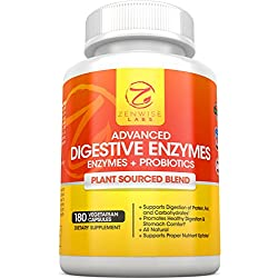 Digestive Enzymes With Prebiotics & Probiotics - All Natural Gluten Free Support - For Better Digestion & Lactose Absorption - For Bloating & Gas Relief + Helps IBS & Leaky Gut - 180 Vegan Capsules
