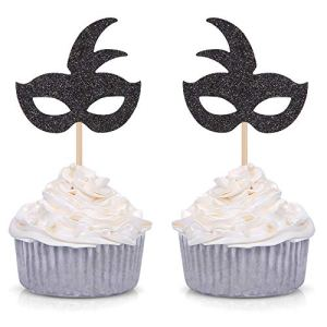 24 Counts Black Glitter Mask Cupcake Toppers Baby Shower Kid Birthday Party Decorations 51zyh0zHAwL