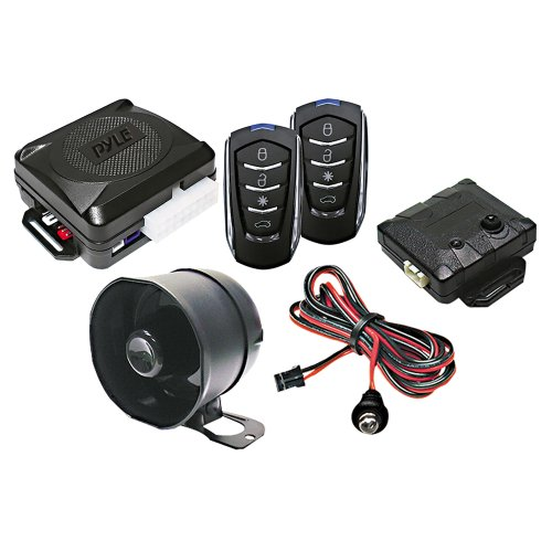Pyle Car Alarm Security System - 2 Transmitters w/ 4 Button Remote Door Lock Vehicle Ignition Locks Status Indicator LED w/ Sensor Bypass Valet Override Switch & 2 Auxiliary Outputs - PWD701