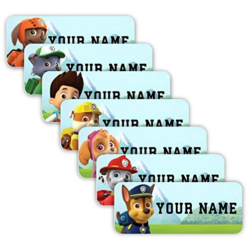 PAW Patrol Theme Original Personalized Peel and Stick Waterproof Custom Name Tag Labels for Adults, Kids, Toddlers, and Babies - Use for Office, School, or Daycare