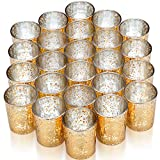 VIZAYO Gold Votive Candle Holders - Set of 24 Mercury Glass Votives and Tealight Candle Holder - Gold Wedding Decorations