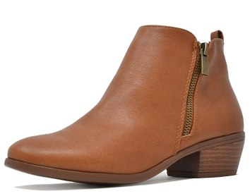 TOETOS Women's Pitts-06 Tan Pu Block Heel Side Zipper Ankle Booties Size 5 M US