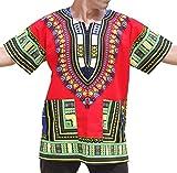 Raan Pah Muang Unisex African Bright Dashiki Cotton Shirt Variety Colors, Small, Vibrant Red